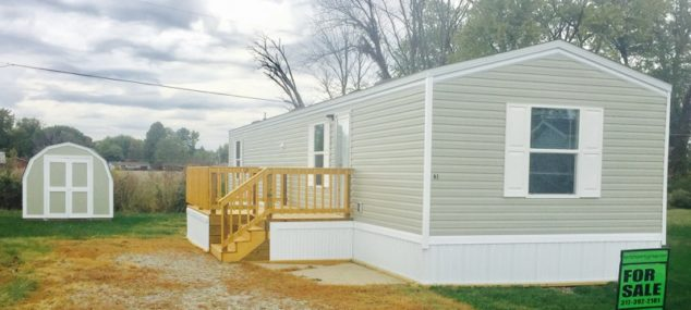 Lot #61 Mobile Home Villa – BRAND NEW!!  PRICE REDUCED!!! 2016 TRU 14×60 2 bedroom, 1 bath, vinyl siding, shingle roof, central air, deck, mini-barn, new appliances included, total electric $29,900 with $3,000 down $350/month @ 12% for approx. 147 months